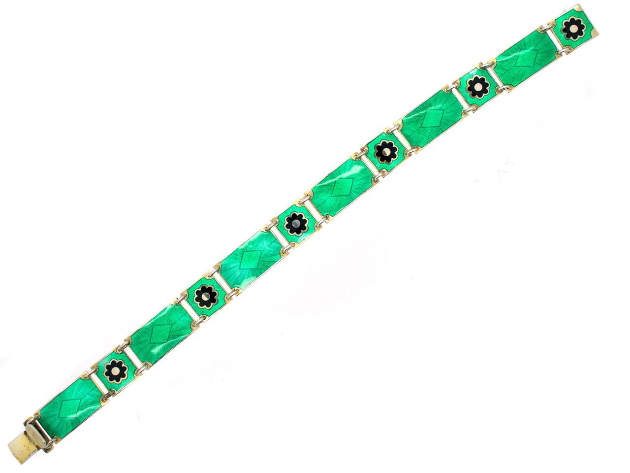 Silver & Green Enamel Norwegian Bracelet