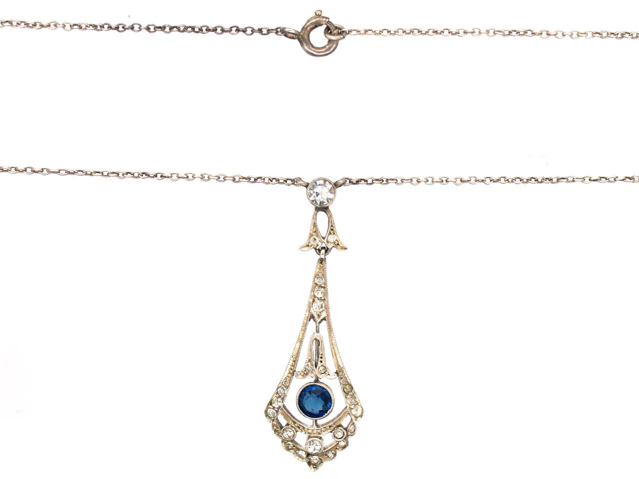 Art Deco Silver & Paste Pendant on Silver Chain