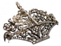 Italian 19th Century Diamond Set Flower Basket Giardinetti Brooch