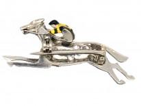Diamond Horse & Jockey Brooch in Original Garrard & Co. Case