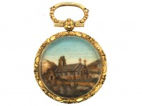 Georgian Pendant with a Sand Picture of a Church Within