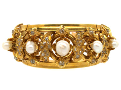 French 18ct Gold natural Pearl & Diamond Bracelet