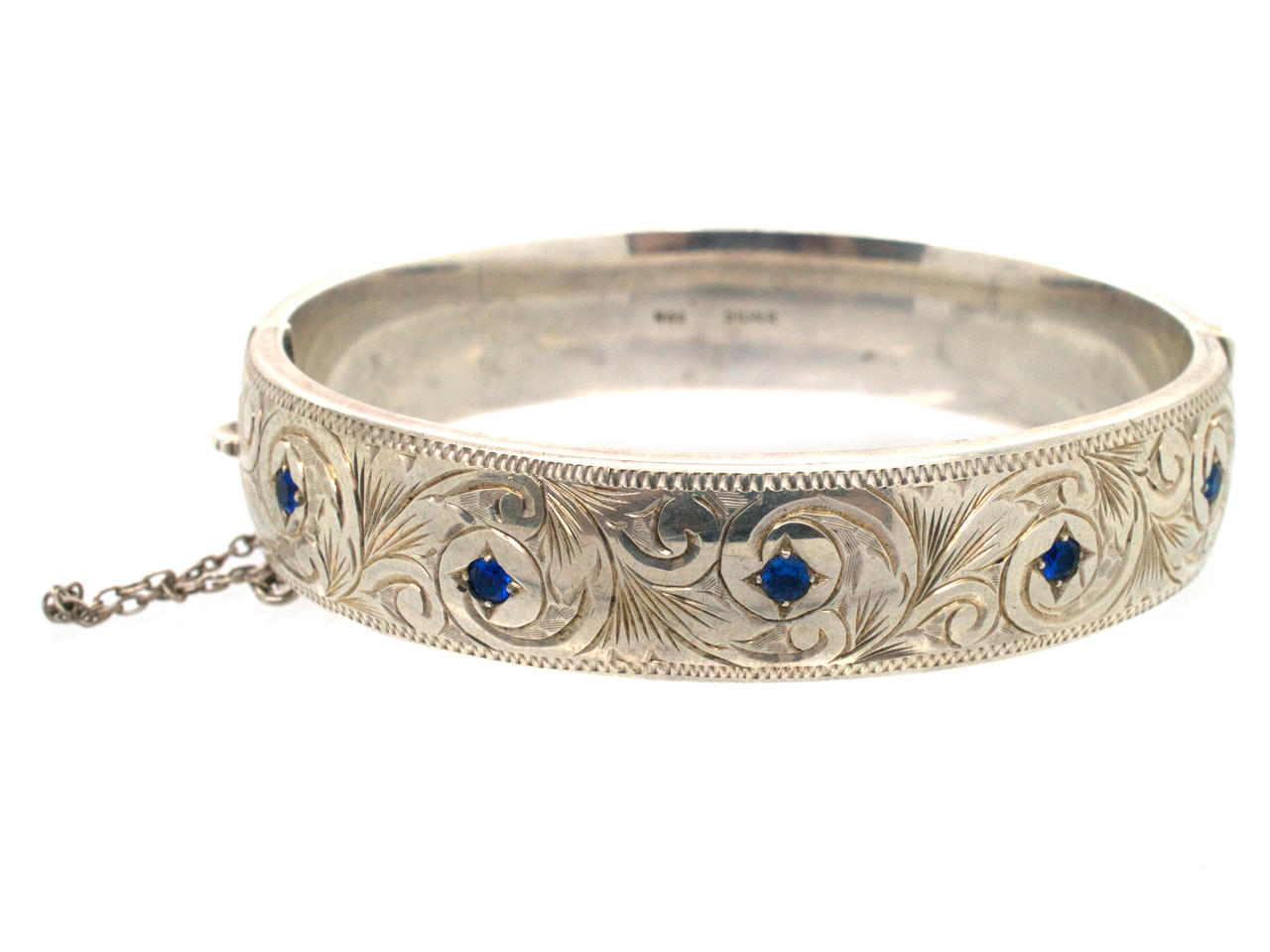 Engraved Silver 1950s Bangle Set With Sapphires