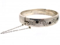 Engraved Silver 1950s Bangle Set With Garnets