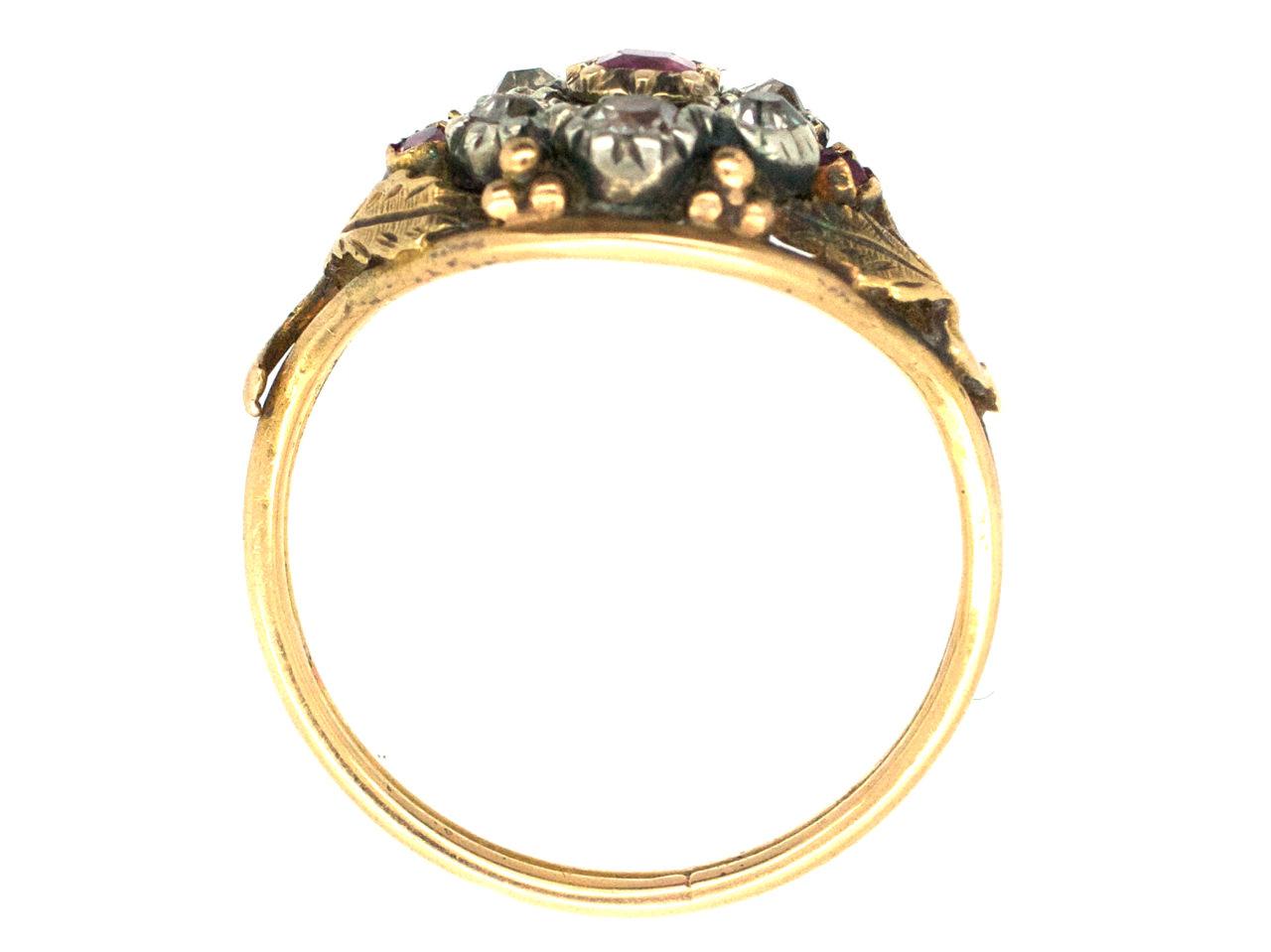 Regency Diamond & Ruby Flower Cluster Ring