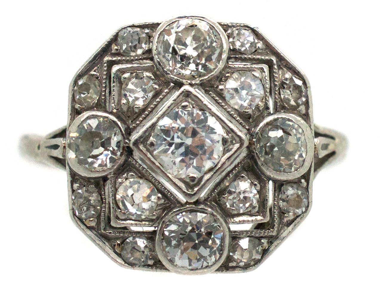 Art Deco Platinum Octagonal Diamond Set Ring