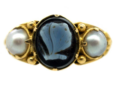Georgian 18ct Gold, Carved Sardonyx of a Butterfly & Natural Split Pearls Mourning Ring