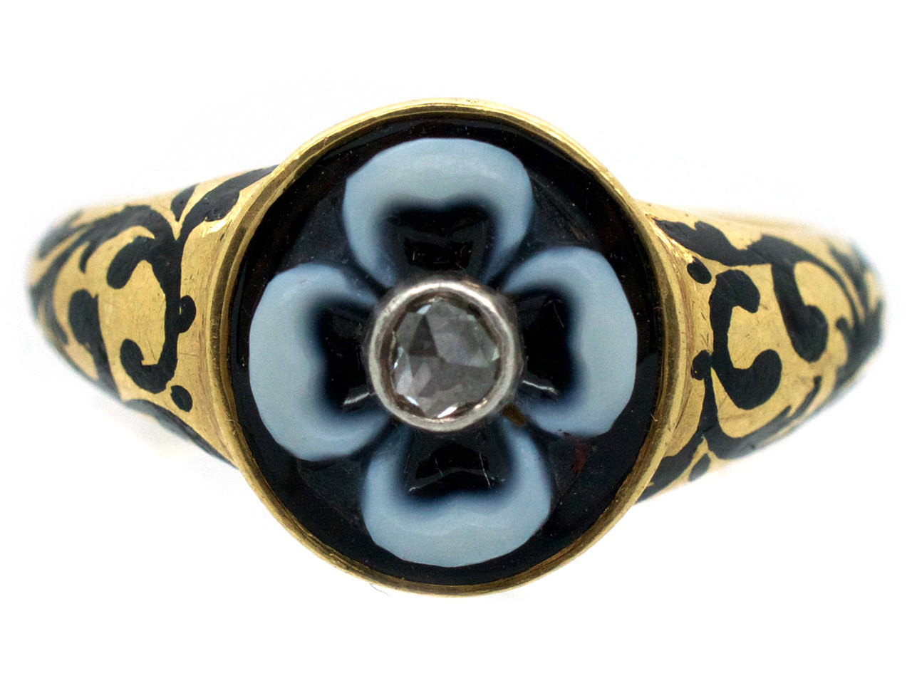 Victorian 18ct Gold, Carved Onyx & Enamel Mourning Ring