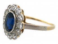 Edwardian Diamond & Sapphire Oval Cluster Ring