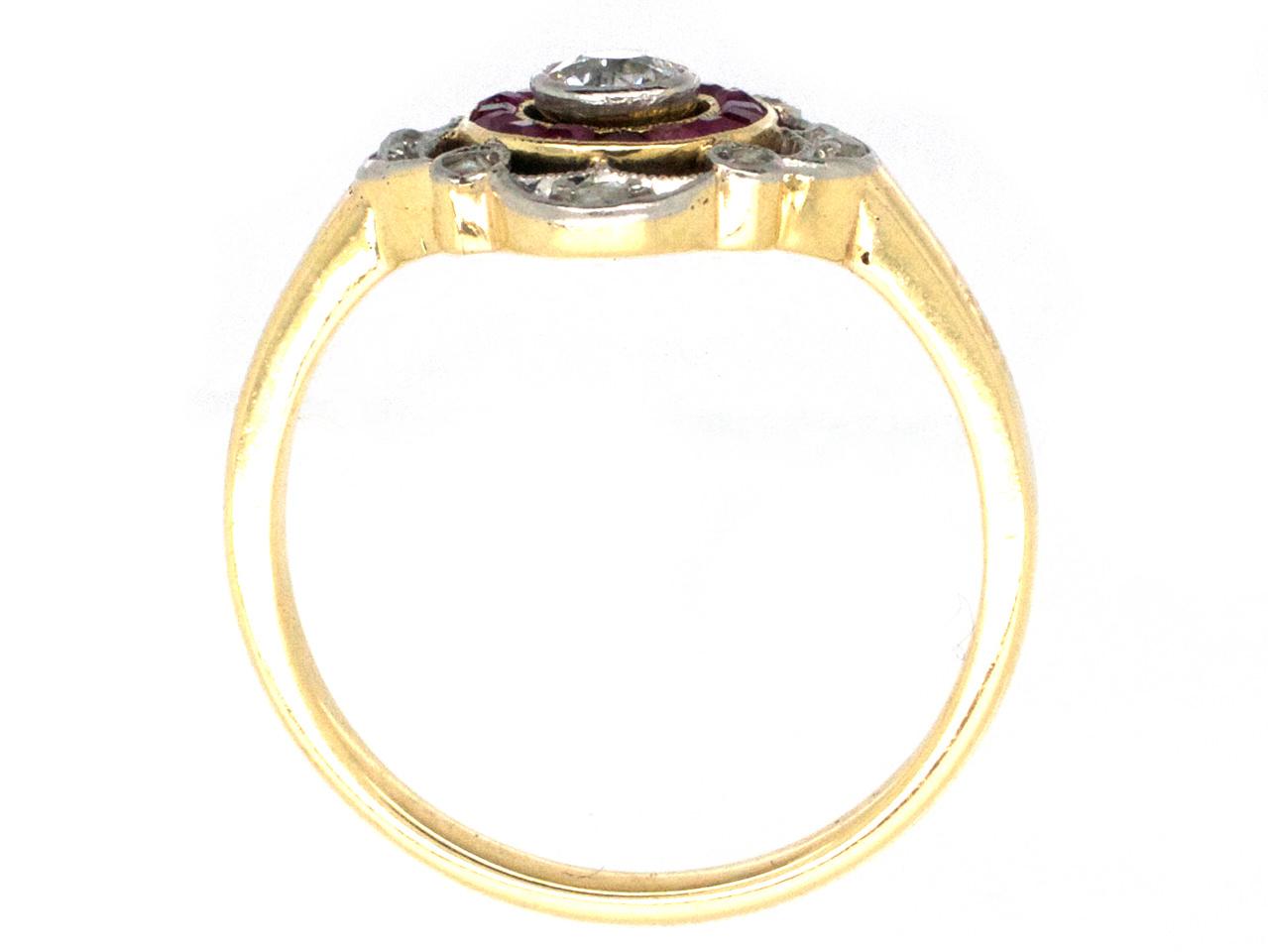 Art Deco Ruby & Diamond Target Ring