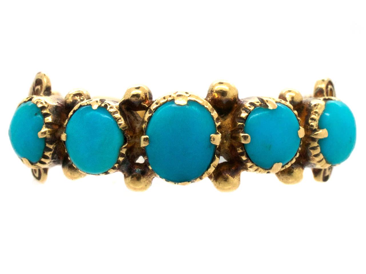 Regency 18ct Gold & Five Stone Turquoise Ring