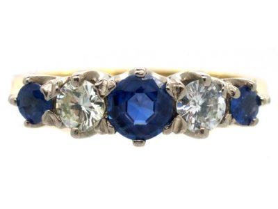 Sapphire & Diamond Five Stone 18ct Gold Ring