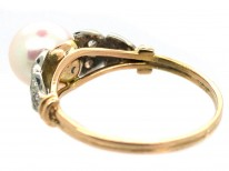 18ct Gold Cultured Pearl & Diamond Ring