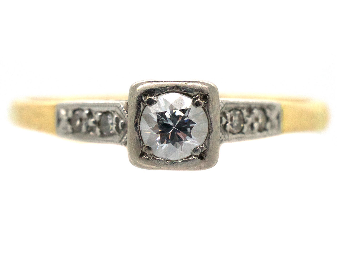 Diamond Solitaire Ring with Diamond Set Shoulders