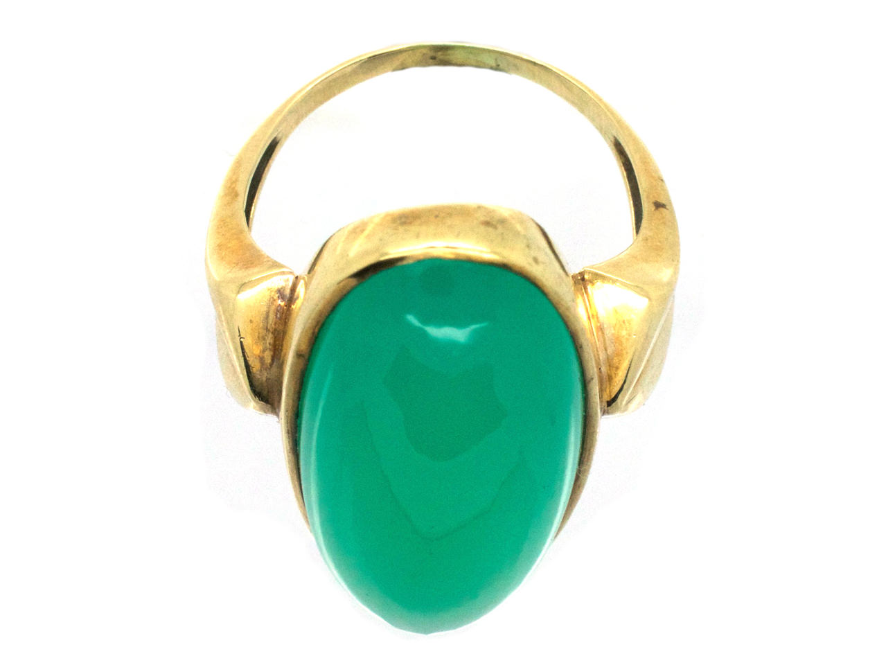 Large Gold & Oval Green Chalcedony Ring