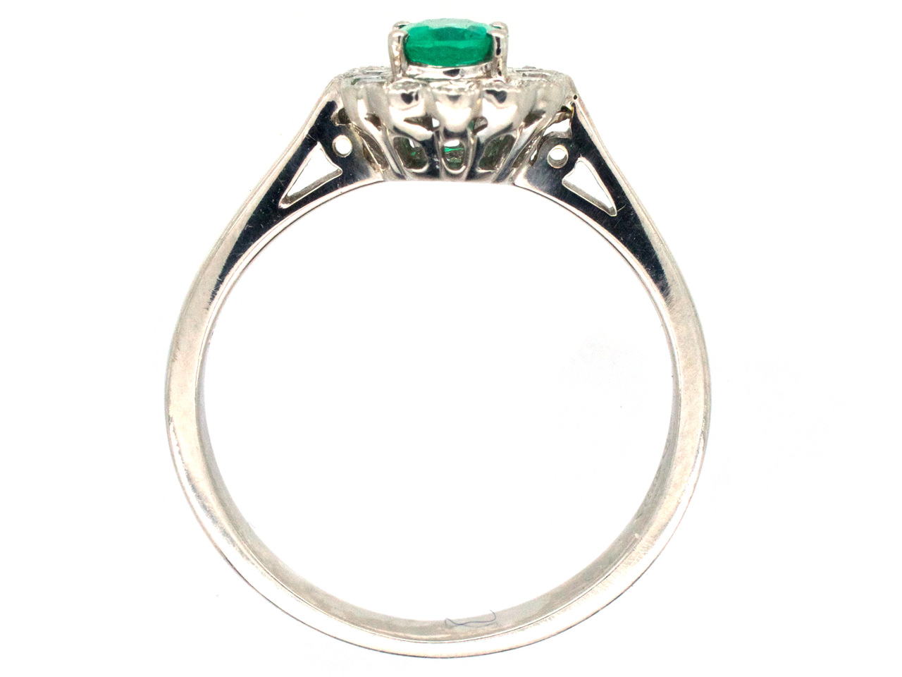 Emerald & Diamond Oval Cluster Ring