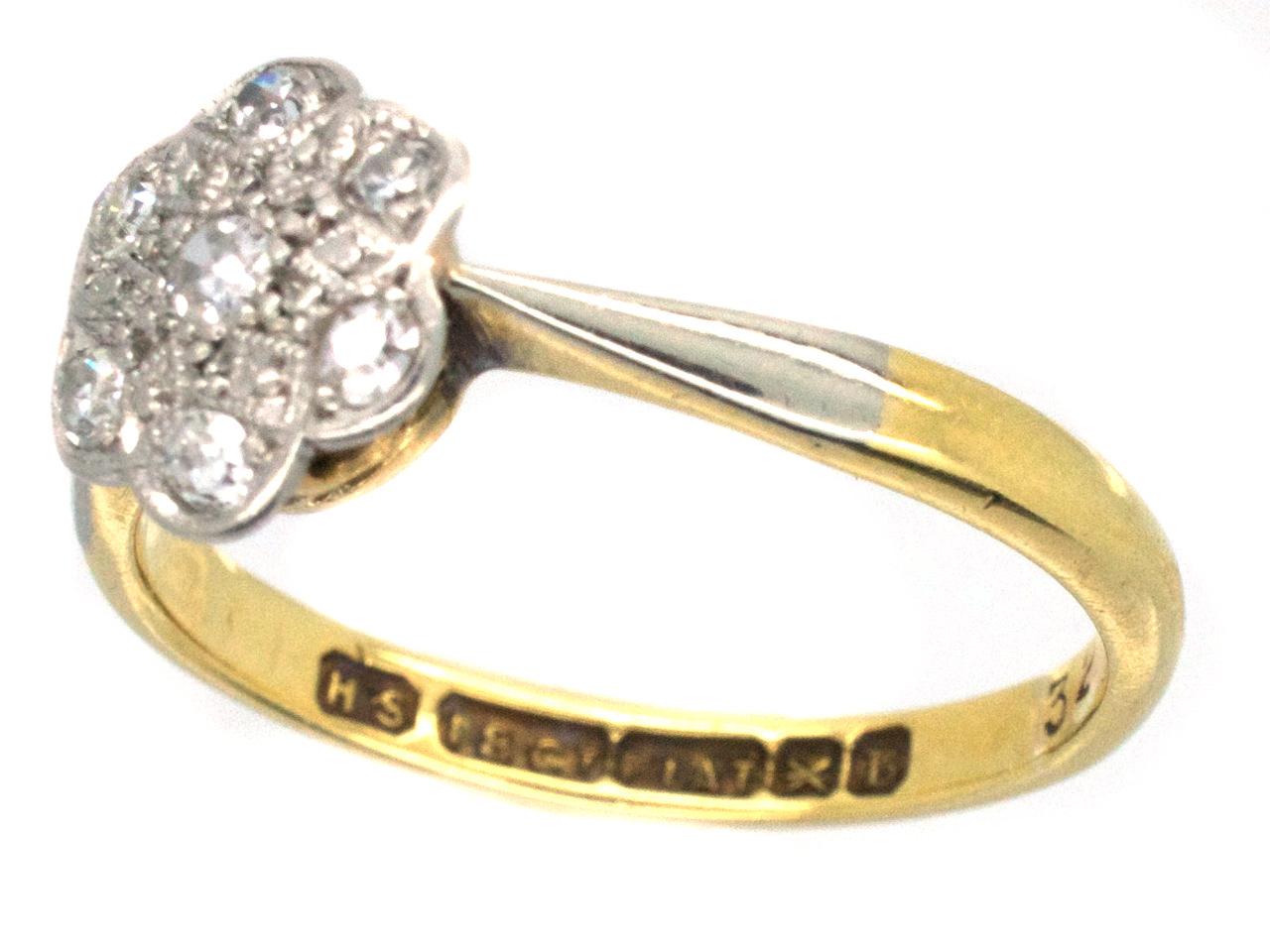 Edwardian 18ct Gold & Platinum Diamond Set Daisy Ring