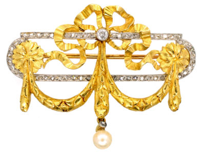 French Bell Epoque 18ct Gold & Diamond Garland Brooch