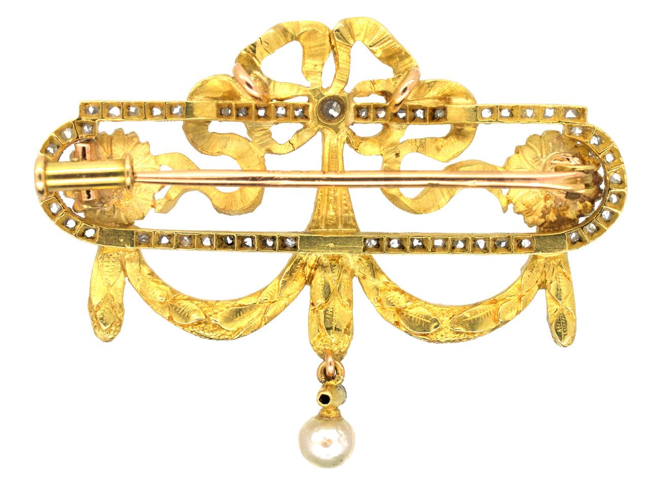 French Bell Epoque 18ct Gold & Diamond Garland Brooch