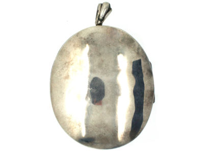 Large Silver Oval Victorian Locket