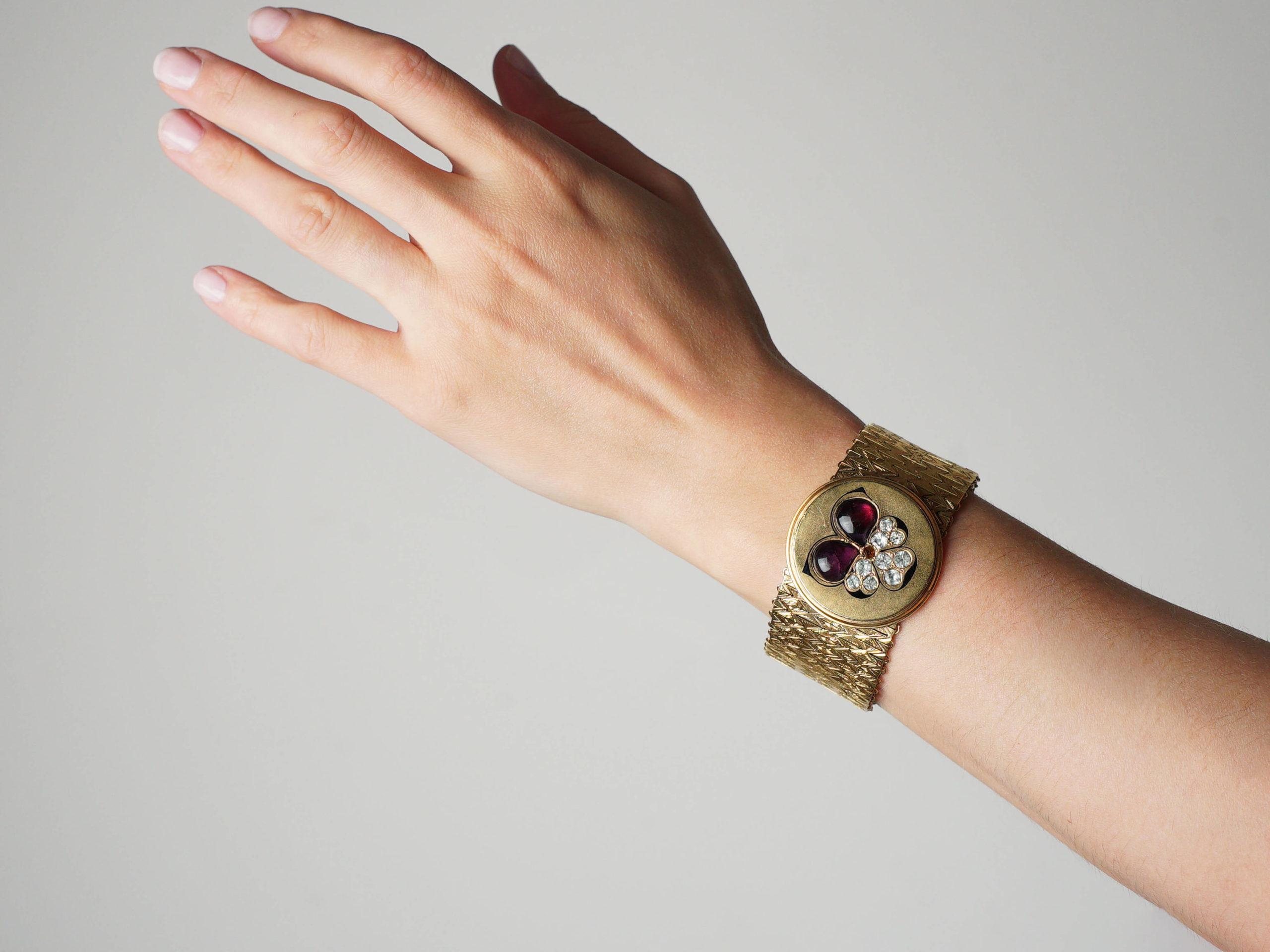 Victorian Pinchbeck Pansy Motif Bracelet