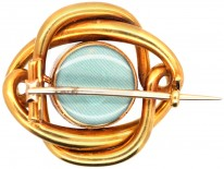 Victorian 18ct Gold Coily Brooch Set With a Cabochon Garnet & Diamonds