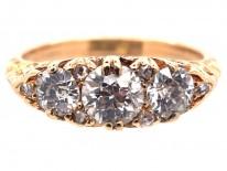 Victorian Three Stone Diamond Carved Half Hoop Ring