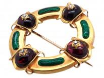 Victorian 18ct Gold Holbeinesque Brooch with Green Enamel, Garnets & Diamonds