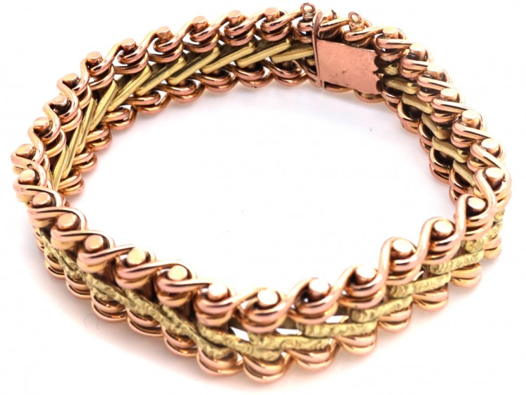 French 18ct Two Colour Gold Bracelet