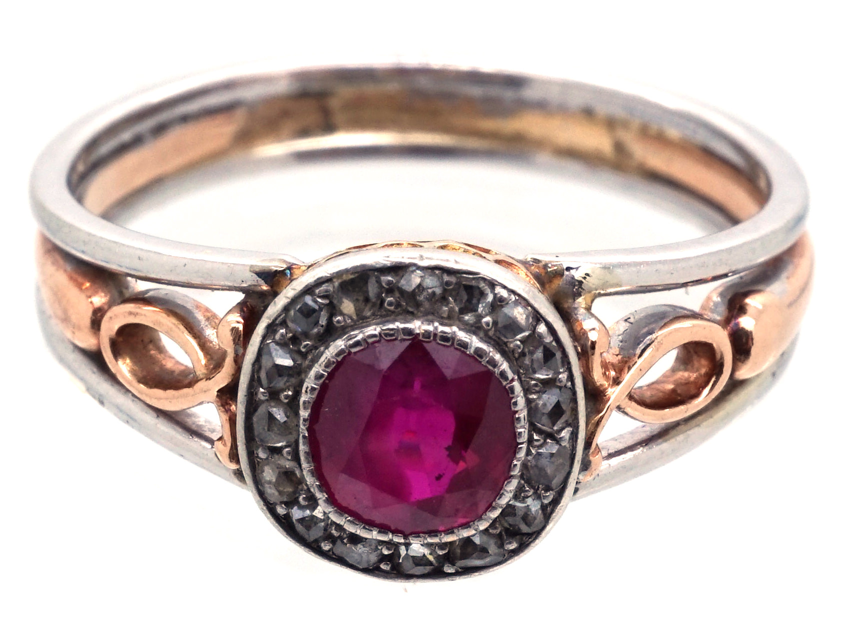 Edwardian Ruby & Rose Cluster Diamond Ring