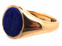 Victorian 18ct Gold & Lapis Fleur-de-Lis Signet Ring