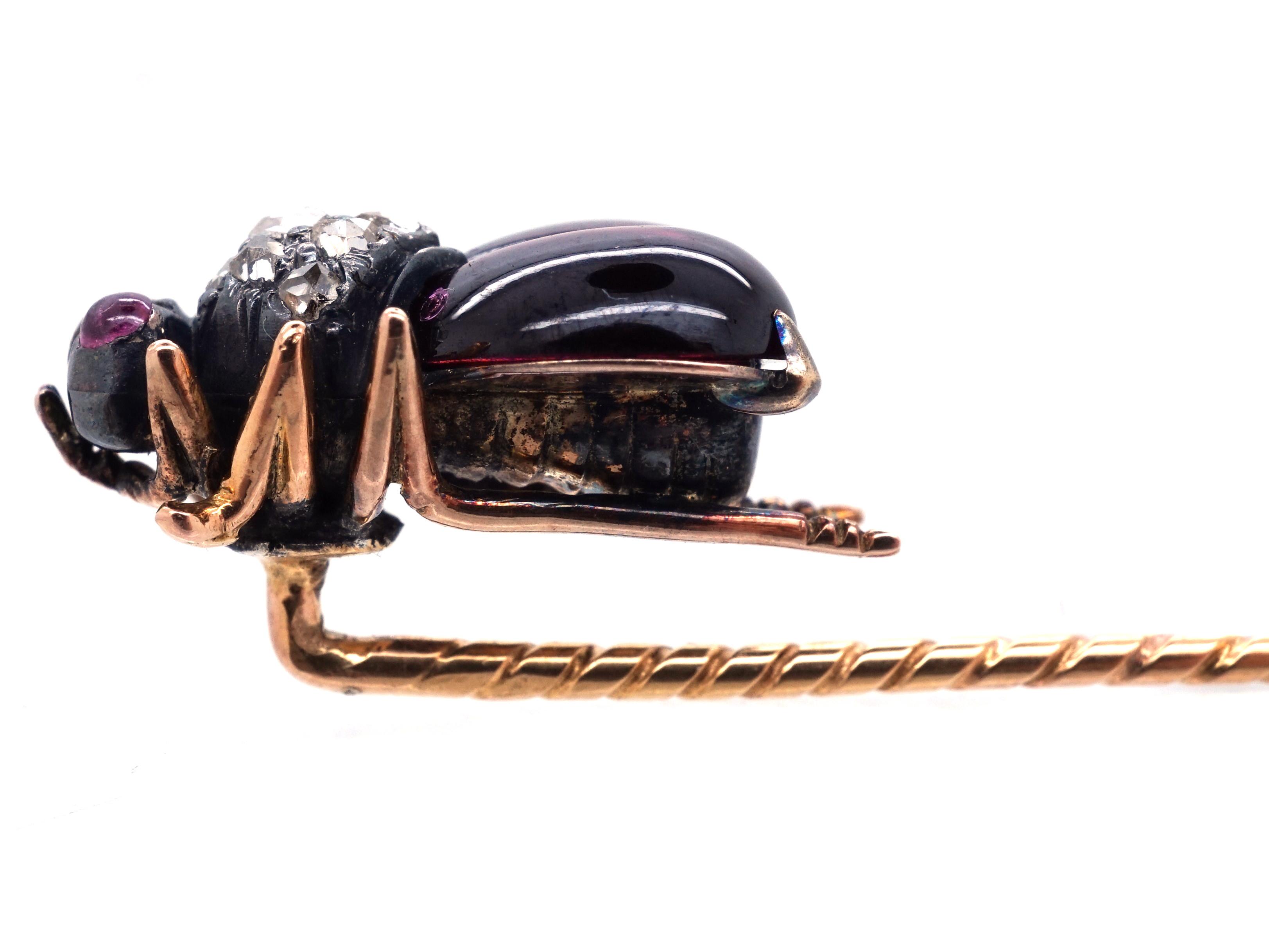 Victorian Garnet, Ruby & Rose Diamond Bug Stick Pin