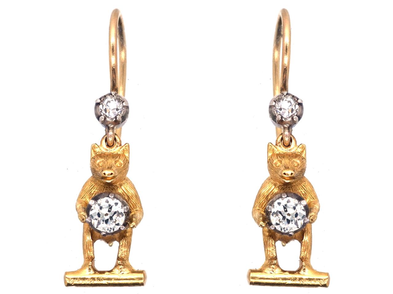 Edwardian 18ct Gold & Diamond Bear Earrings