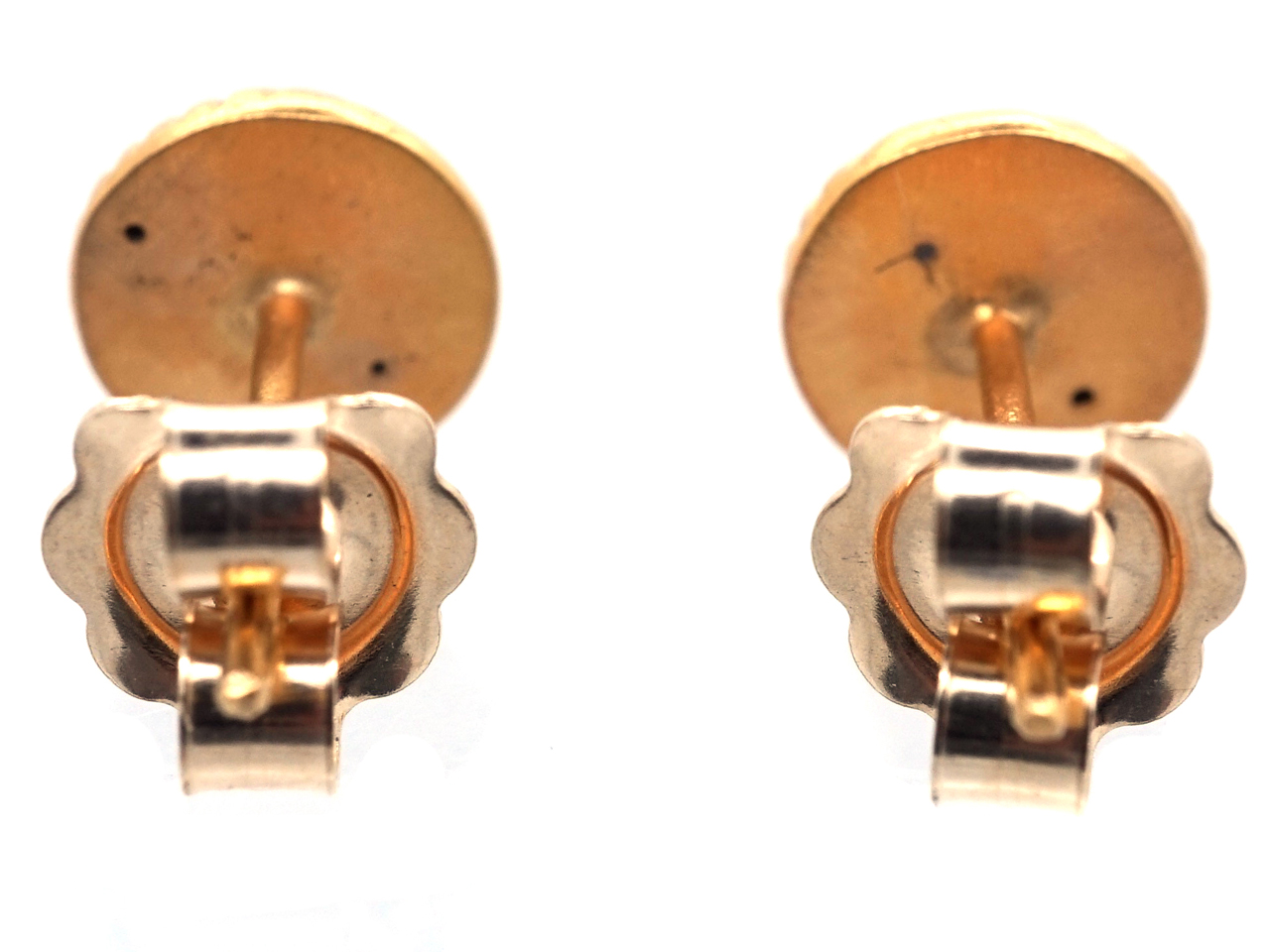 Small Round 15ct Gold Stripey Earrings