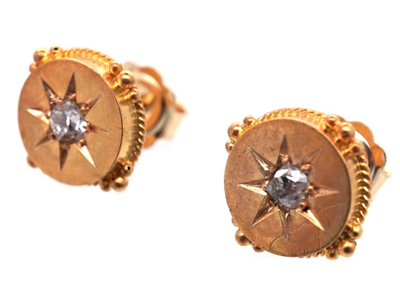 Victorian 15ct Gold & Diamond Round Earrings