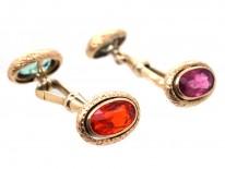 Edwardian Gold Multi Stone Cufflinks