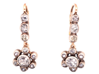 Victorian Diamond Cluster Drop Earrings