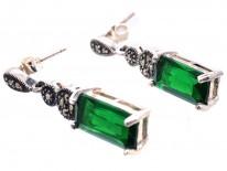 Art Deco Silver, Marcasite & Green Paste Drop Earrings