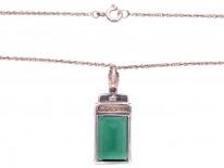 Art Deco Silver, Marcasite & Green Paste Pendant on Silver Chain