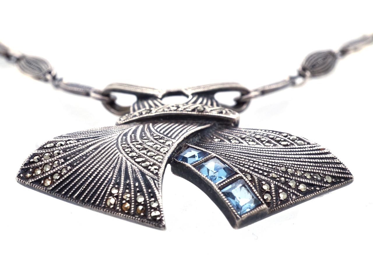 Theodor Farhner Silver, Marcasite & Blue Paste Necklace