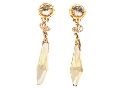 18ct Gold & Citrine Long Drop Earrings
