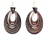 Victorian Tortoiseshell Pique Earrings Inlaid With Silver & Gold