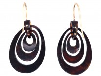 Victorian Tortoiseshell Pique Earrings Inlaid with Gold & Mother of Pearl