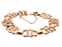 Edwardian 15ct Gold Interwoven Heart Links Bracelet