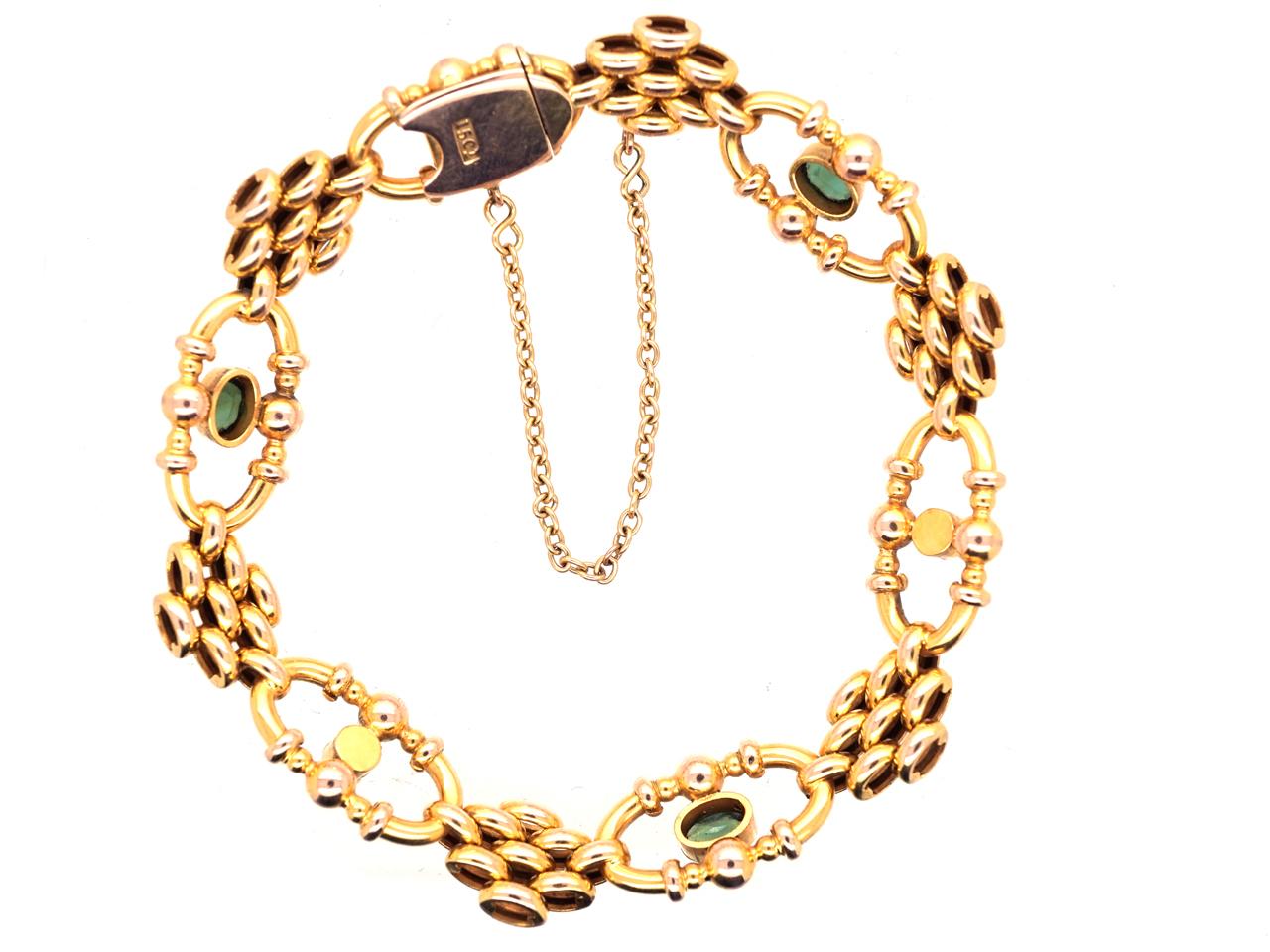 Edwardian 15ct Gold,Tourmaline & Natural Split Pearls Bracelet