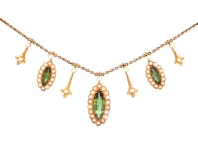 Edwardian 15ct Gold, Green Tourmaline & Natural Split Pearls Necklace
