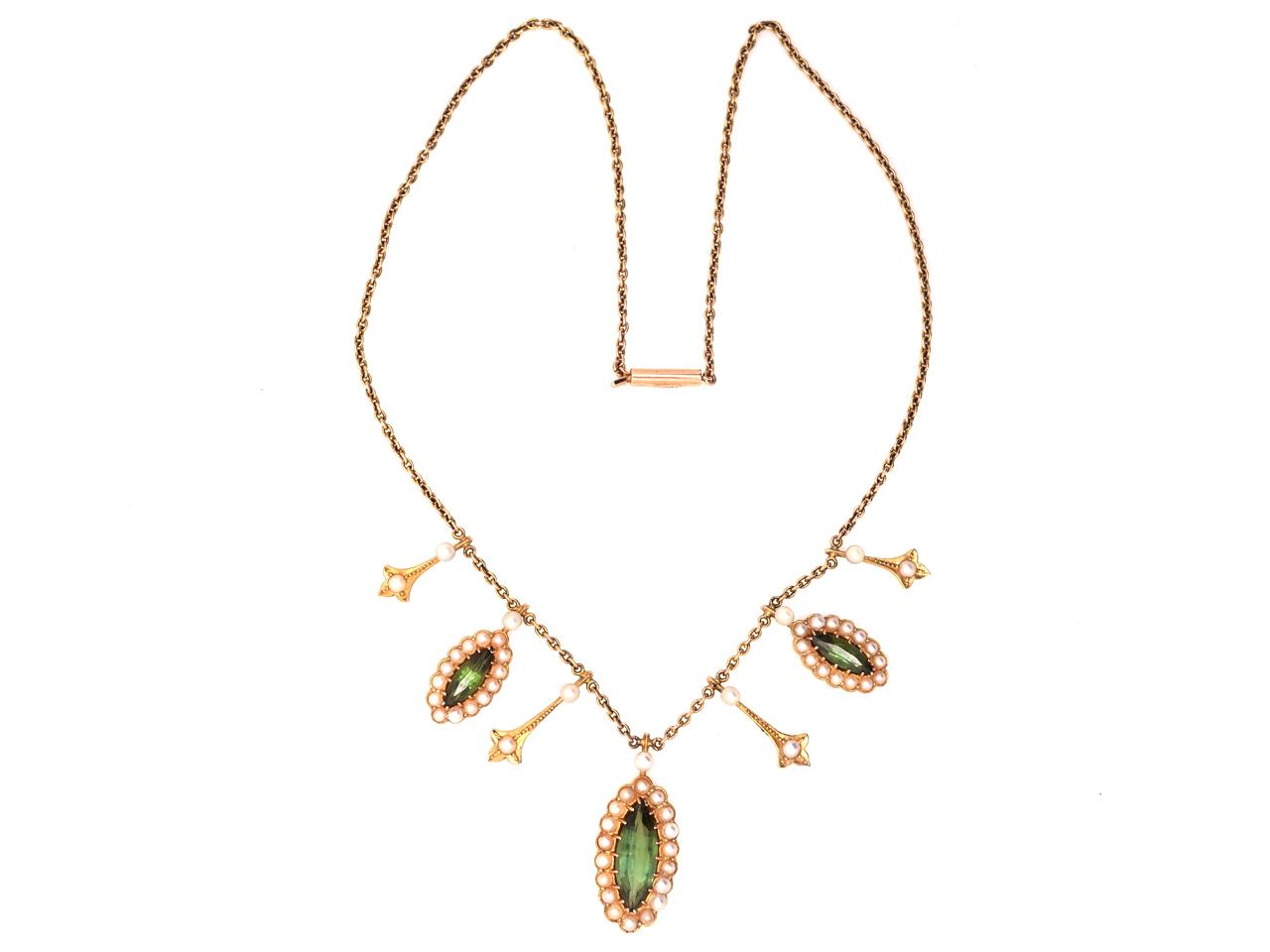 Edwardian 15ct Gold, Green Tourmaline & Natural Split Pearls Necklace
