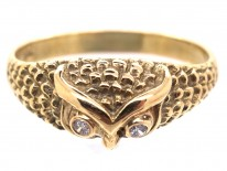 18ct Gold Owl Ring with Diamond Eyes