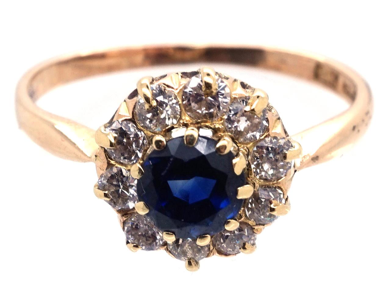 Sapphire & Diamond Cluster Ring