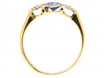 Art Deco Sapphire & Diamond Cluster Ring with Diamond Shoulders